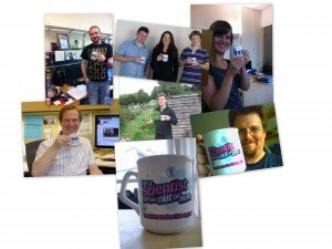 A montage of images of I'm a Scientist mugs, many being held by staff members or scientists.