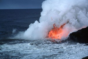 Lava in the sea. Image by Interiot for Wikimedia