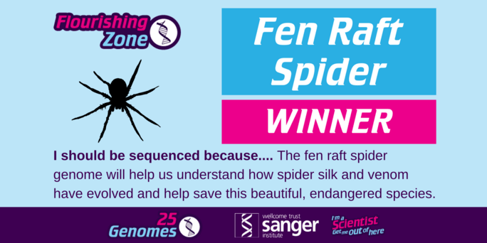 the winning species in the Flourishing Zone is the Fen Raft Spider