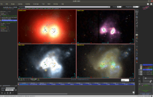 A screenshot showing 4 images of a pair of galaxies merging